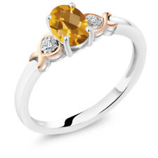925 Sterling Silver and 10K Rose Gold Ring Yellow Citrine with Diamond Accent