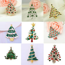 Vintage Christmas Tree Brooch Rhinestone Scarf Pins Jewelry Silver/Gold Plated