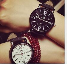 New Casual Leather Sport Stainless Steel Analog Quartz Women Men Wrist Watch