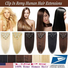 110g 8PCS Virgin Remy Hair Clip In Real Human Hair Extensions 16''18''20''22''