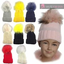 NEW KIDS GIRLS FAUX FUR COLOUR POM POM SKI WINTER KNITTED BEANIE BOBBLE HAT
