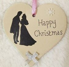 DISNEY PRINCESS AURORA HANDMADE PERSONALISED CHRISTMAS TREE HEART BOW DECORATION