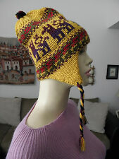From Peru New Thick Alpaca Chullo Earflap Hat Llama Design #121309