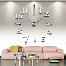 DIY Mirror Like Analog Wall Clock 3D Large Number Sticker Decor for Home Office