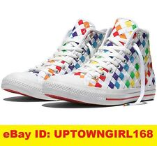 Converse Chuck Taylor ALL STAR HI Pride Woven Rainbow Shoes Limited Women 10 New