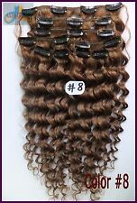 150g Curly Wavy Virgin Clip In Real Human Hair Extensions Deep Hair Ash Brown