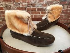 Lamo Chocolate Brown Suede Lace-up Moccasin Faux Fur Ankle Booties NEW