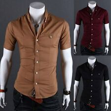 Fashion Men Luxury Casual Shirt Stylish Slim Fit Short Sleeve Casual Dress Shirt