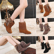 New Womens Faux Suede Fur Booties Wedge Platform Fringe Ankle Boots Winter Warm