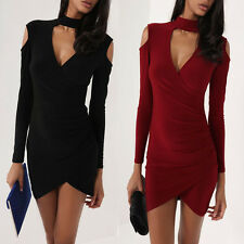 Womens Cut Shoulder Choker Neck Wrap Front Over Side Ruched Ladies Bodycon Dress
