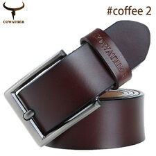 Men Real Leather Cowhide Waist Belt Alloy Pin Buckle Waistband Strap Slim Suit