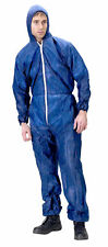 Click Once Disposable Suit Overalls Coverall Blue Medium - XXL with Zip, Hooded