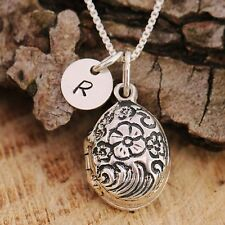 925 Sterling Silver Personalised Antiqued Flowers Locket Necklace & Initial Tag