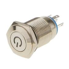 Mini 16mm 12V Car Aluminum LED Power Push Button Metal ON/OFF Switch Latching