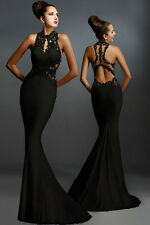 New Sexy Women Black Graceful Noble Open Back Fine Flowers Wedding Evening Gown
