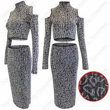 LADIES LUREX GLITTER LEOPARD PRINT COLD SHOULDER CROP TOP WOMEN SKIRT SUIT COORD