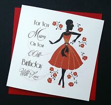 Handmade Birthday Card, Lady in Red, Any Age Female Relative Friend