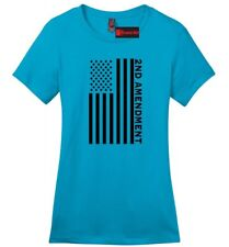 Second 2nd Amendment American Flag Ladies T Shirt Patriotic Gun Rights Tee Z4