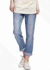 Mamaway Maternity Boyfriend Jeans in Distressed Wash - Signature Waist Band