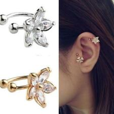 Chic Crystal Flower Ear Cuff Wrap Cartilage Clip On Earring No Piercing Jewelry