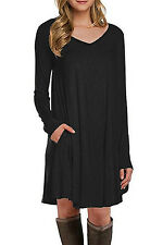 New Sexy Ladies Girls Black Long Sleeve Pocket Casual Loose T shirt Party Dress