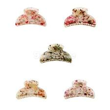 Ladies Floral Print Colorful Jaw Gripper Claw Hair Clip Womens Hair Accessory