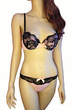 Pink Extreme Padded 36C Bra w Black Lace Set w Large Thong Sexy Push Up OLL-Blk