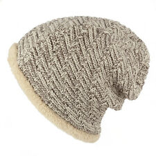 Two Tone Faux Fur Cable Knit Winter Beanie Hat