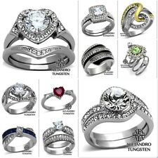 Women's Ring Wedding CZ Stone Round Cut Heart Stainless Steel Size 5 to 10 #AA26