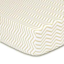 The Peanut Shell Chevron Fitted Bassinet Sheet (Gold)