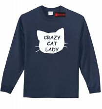 Crazy Cat Lady Funny L/S T Shirt Cat Lover Kitten Meow Holiday Gift Tee Z1