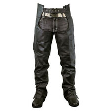Zip-Out Insulated and Lined Plain Biker Motorcycle Leather Chaps