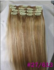 16''~26'' 160g Deluxe Thick Remy Clip In 100%Real Human Hair Extension Full Head