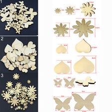 50x NEW Cute Mixed Sizes Butterfly Flower Heart Wood Buttons Scrapbooking Sewing