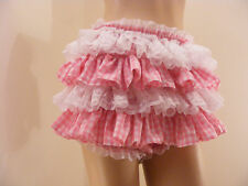SISSY ADULT BABY PINK GINGHAM ALLROUND DIAPER COVER PANTIES WATERPROOF OPTION