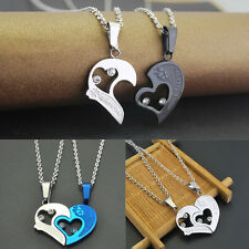 1 Pair Men Women Lover Couple Necklace I Love You Heart Pendant Stainless Steel