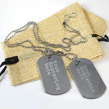 Personalised Engraved Text Stainless Steel Army Dog Tags Necklace ID Tag