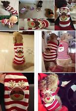 Christmas Reindeer Stripe Pet Dog Puppy pullover Knitted Sweater Clothes Apparel