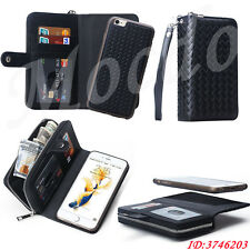 PU Leather Zipper Wallet Card Flip Magnetic Cover Case For iPhone& Samsung Black