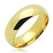 Men's 14K Yellow Gold 6mm Plain Wedding Band Right Hand Ring / Gift Box