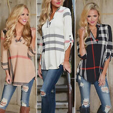 Fashion Women's Loose Long Sleeve Casual Blouse Shirts Tops Chic V-Neck T-shirts