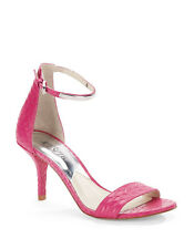 MICHAEL KORS Pink Sandals Embossed Leather Fuchsia Open Toe Heels Shoes 5.5 & 7