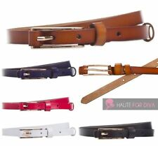 LADIES GENUINE LEATHER BUCKLE CLASSIC COLOURED BELT ONE SIZE