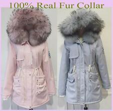 Women's Top Fashion 100% Real Fur Collar Hoodie Winter Jacket Cold Weather Coat