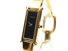 Auth GUCCI 1500L Mother of Pearl White Dial Gold Plated Bracelet Ladies Watch