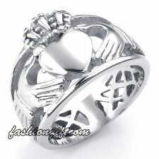 Mens Womens Stainless Steel Love Heart Crown Claddagh Ring Celtic Knot Eternity