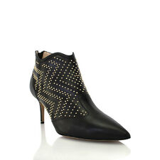 Nicholas Kirkwood black leather ankle boot w/gold studs
