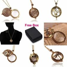 Vintage Magnifying Glass Elephant Tree Owl Dragonfly Pendant Necklace+Gift Box
