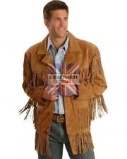 Mens New Western wear Brown Suede Leather Jacket Fringe all size