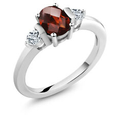 1.08 Ct Oval Checkerboard Red Garnet White Topaz 925 Sterling Silver Ring